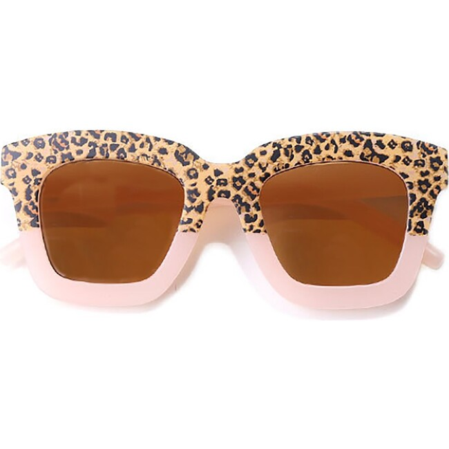 Cat Eye Rectangle Two Tone Sunglasses, Pink Cheetah