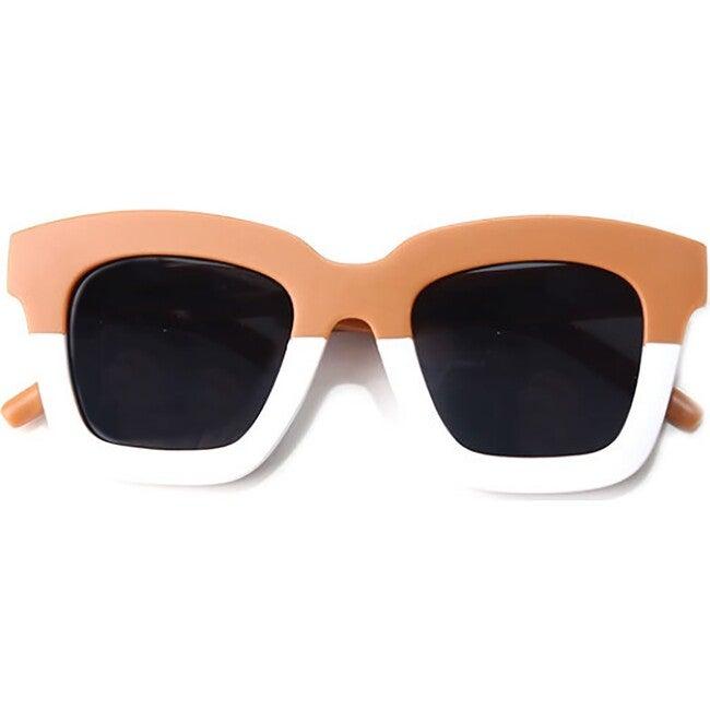Cat Eye Rectangle Two Tone Sunglasses, Fawn