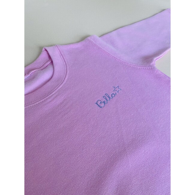Little Kid Small Embroidery Classic Crewneck, Pink