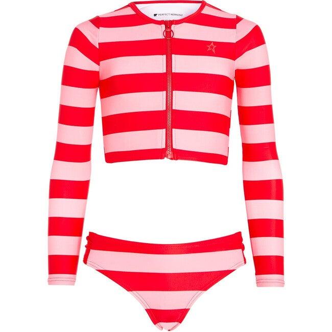 Bikini Stripe Rash Guard, Red/Peach/Pink Stripe - Two Pieces - 1
