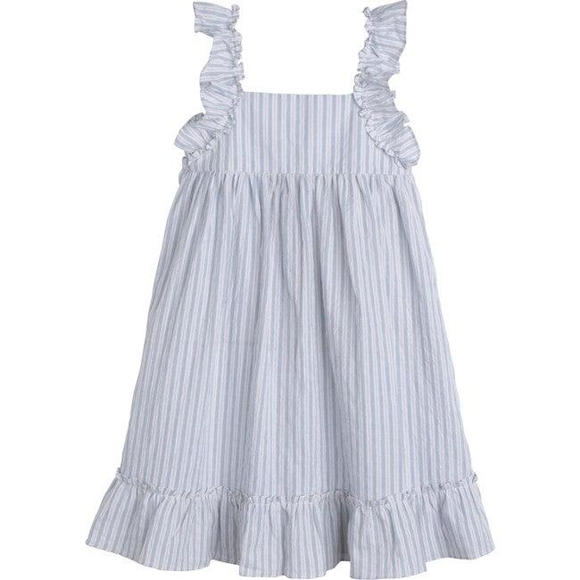 Mila Ruffle Tie Back Dress, Light Blue Stripe