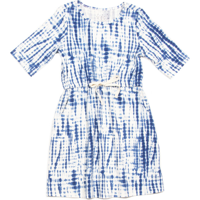 Sage Dress, Navy Print