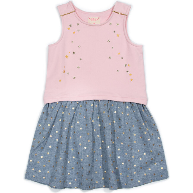 *Exclusive* Makie Dress, Pink & Chambray Stars