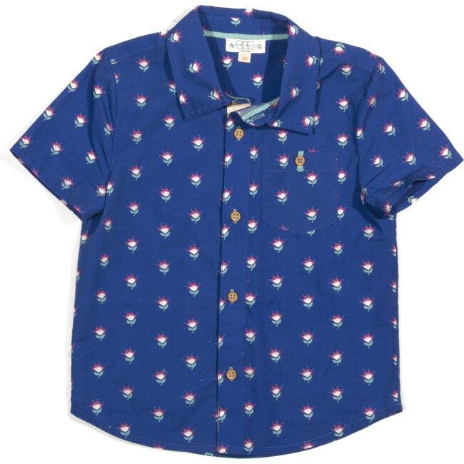 Adrian Cotton Shirt, Blue Print