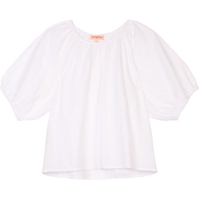 Women's The Scoop Blouse, White Cotton Seersucker