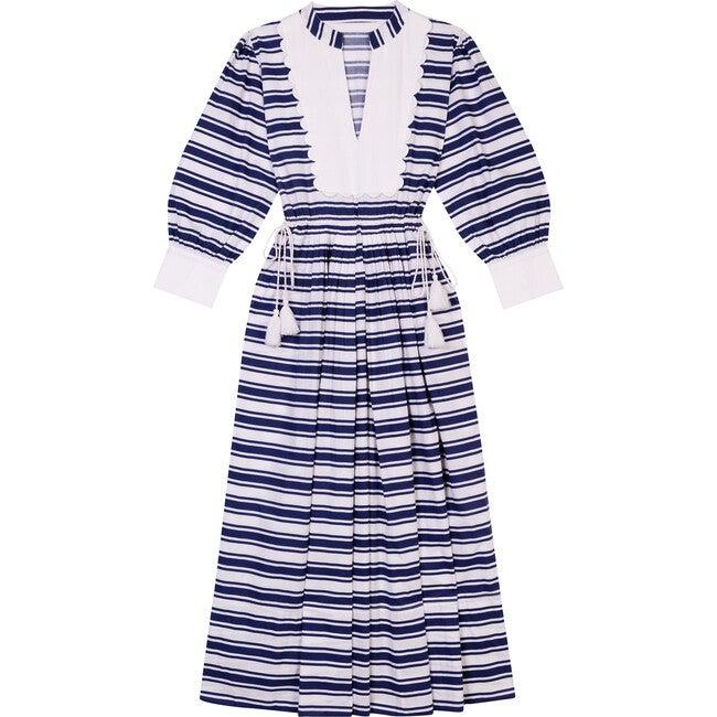 Women's The Scallop Bib Dress, Blue & White Stripe
