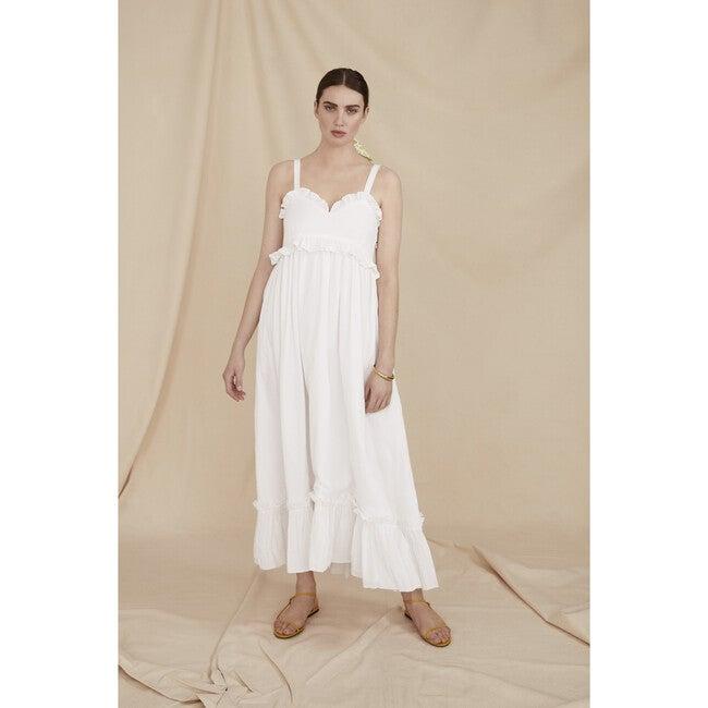 Women's The Strappy Maxi Dress, White Cotton Seersucker