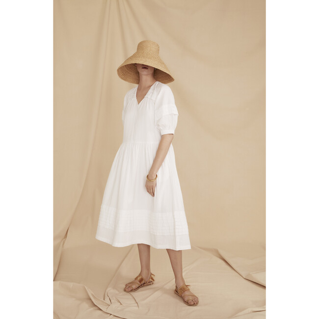 Women's The Midi Pleat Dress, White Cotton Seersucker