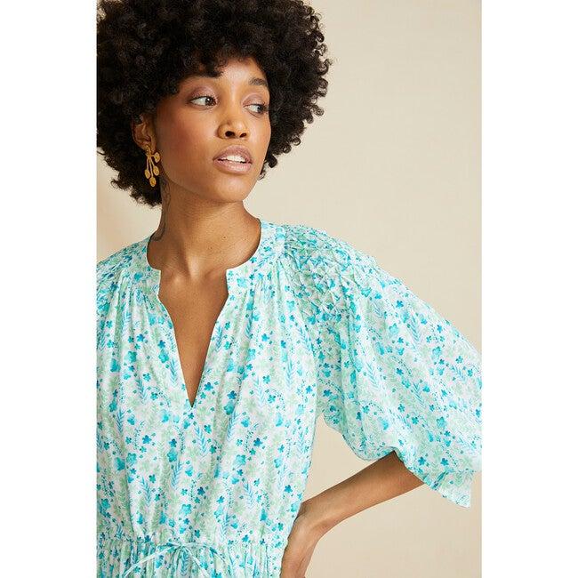 Women's The Honeycomb Dress, Blue & Green Floral