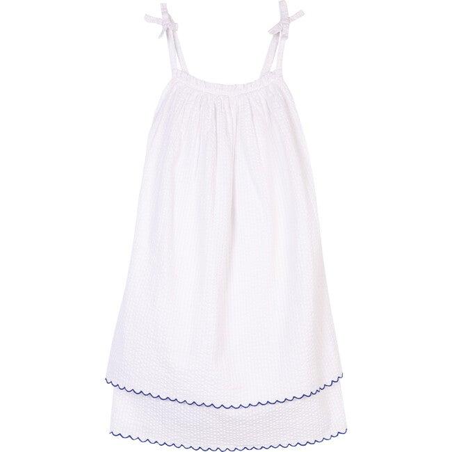 The Little Tiered Sundress, White Seersucker Stripe