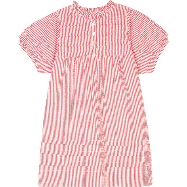 The Little Island Dress, Red & White Striped Seersucker