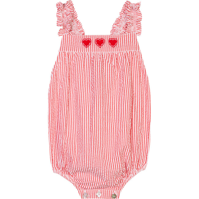 The Little Frilly Romper, Red & White Striped Seersucker