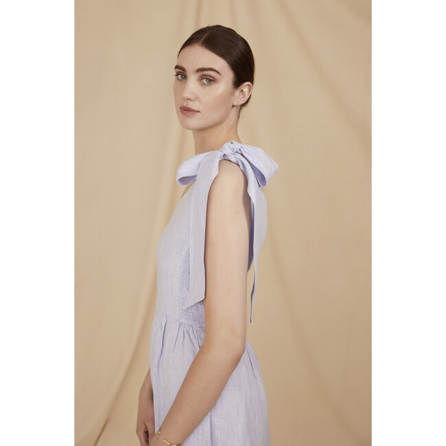 Women's The Midi One Shoulder Dress, Blue Linen Chambray