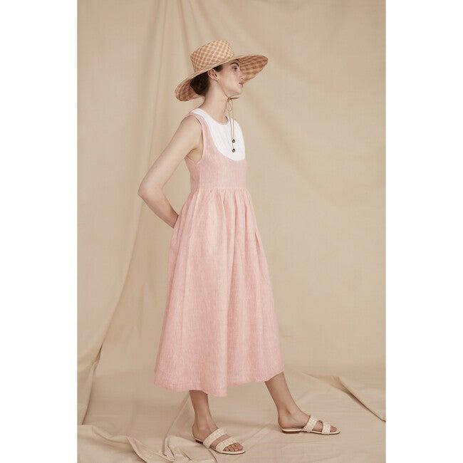 Women's The Capri Dress, Coral Linen Chambray