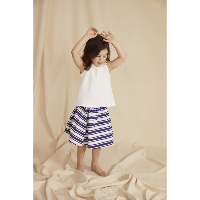 The Little Sleeveless Scallop Blouse, White Cotton Dobby