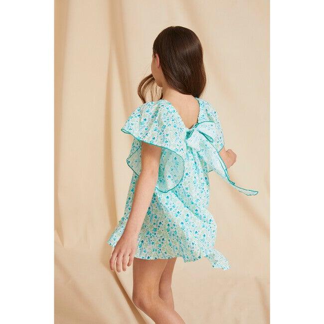 The Little Flutter Sleeve Dress, Blue & Green Floral