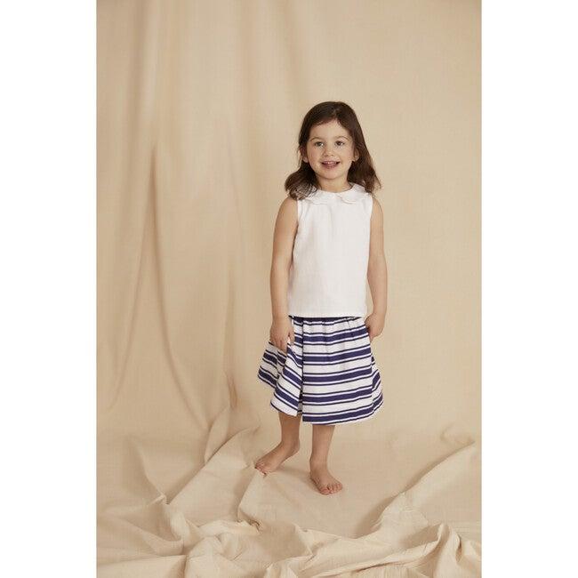 The Little Gathered Skirt, Blue & White Stripe