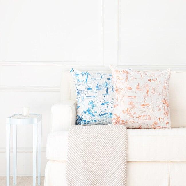 Beach Toile Decorative Pillow, Navy