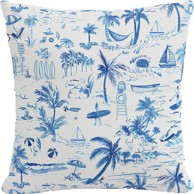 Beach Toile Outdoor Pillow, Navy
