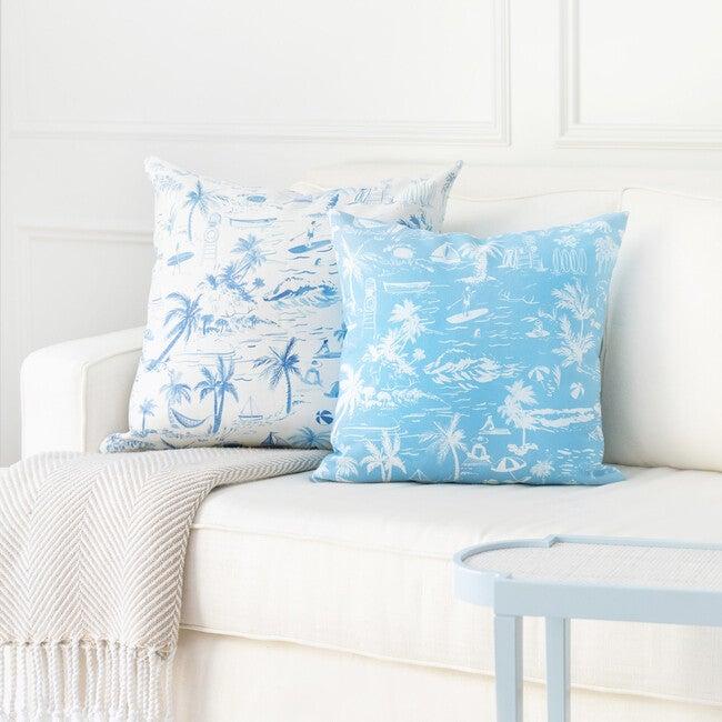 Beach Toile Decorative Pillow, Blue