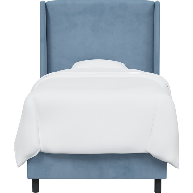 Quinn Wingback Bed, Ocean Velvet