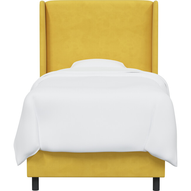 Quinn Wingback Bed, Canary Velvet - Beds - 1