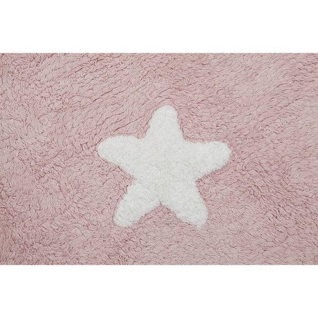 Stars Washable Rug, Pink/White