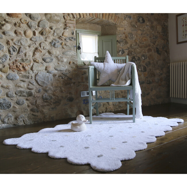Biscuit Washable Rug, White