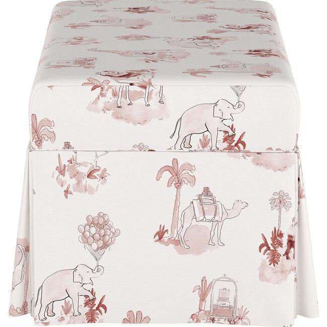 Skirted Storage Bench, Malin Toile Pink