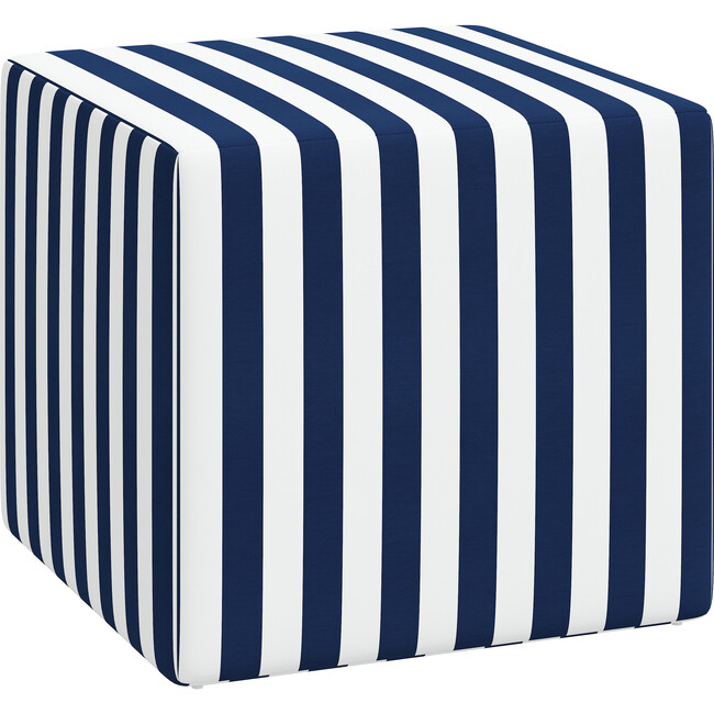 Frankie Ottoman, Navy Cabana Stripe