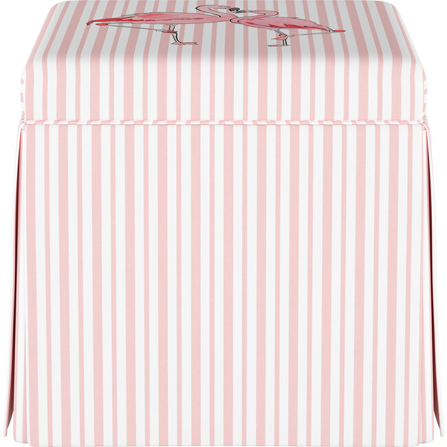 Skirted Storage Ottoman, Flamingo Stripe Pink