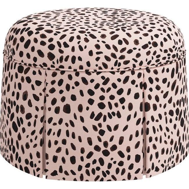 Beatrix Skirted Ottoman, Rose Cheetah