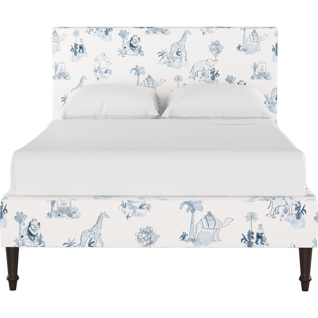 Platform Bed with Fancy Cone Leg, Malin Toile Blue