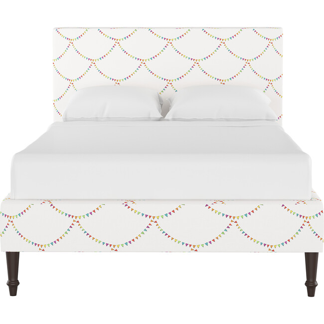 Platform Bed with Fancy Cone Leg, Bunting Scallop Multi