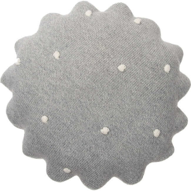 Round Knitted Biscuit Cushion, Grey
