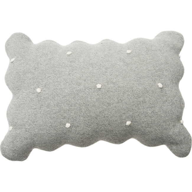 Knitted Biscuit Cushion, Grey