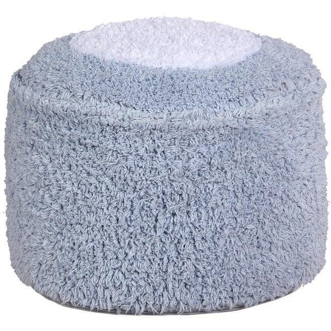 Round Marshmallow Pouffe, Light Blue