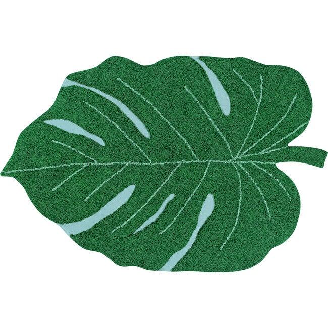 Monstera Leaf Washable Rug, Green