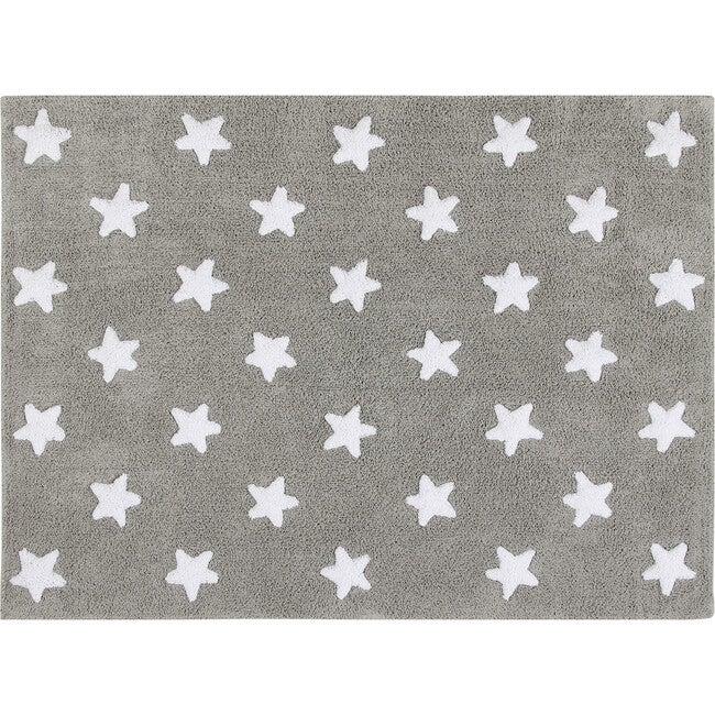 Stars Washable Rug, Grey/White