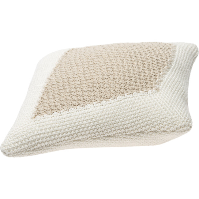 Knitted Candy Cushion, Ivory/Linen
