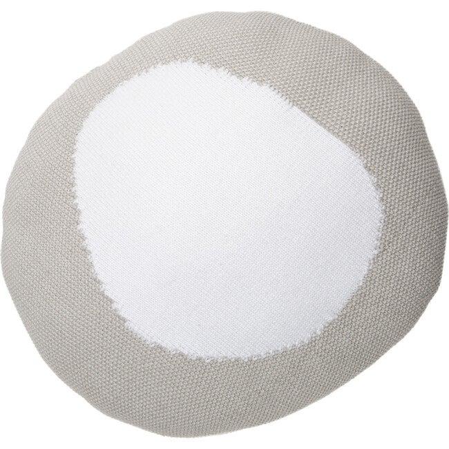 Knitted Bonbon Cushion, Grey/White