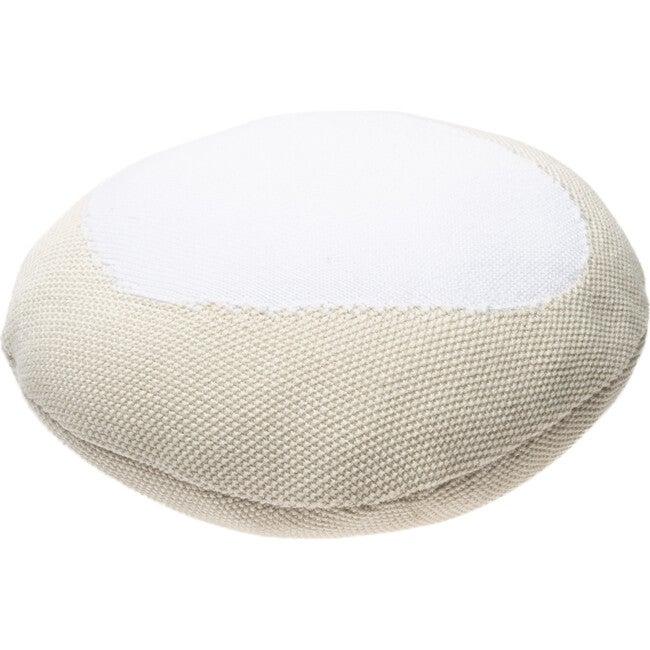Knitted Bonbon Cushion, Vanilla/White