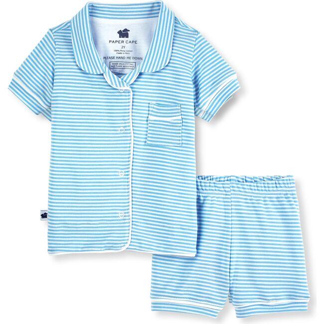 Short Sleeve Classic Pajamas, Blue Stripe