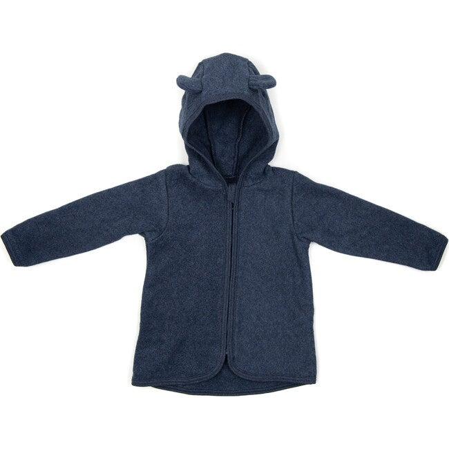 Cotton Fleece Jacket w/ears, Navy