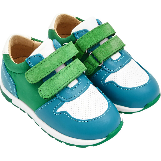 Baby Running-Style Sneakers, White & Green
