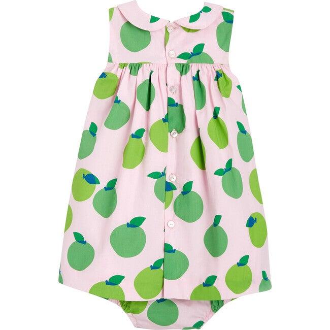 Toddler Apple Motif Dress, Multicolored