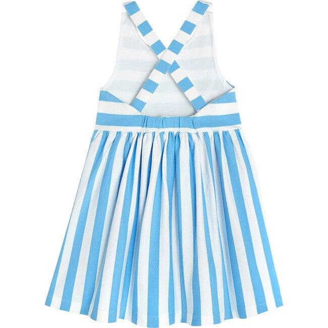 Open-Back Dress, White & Blue