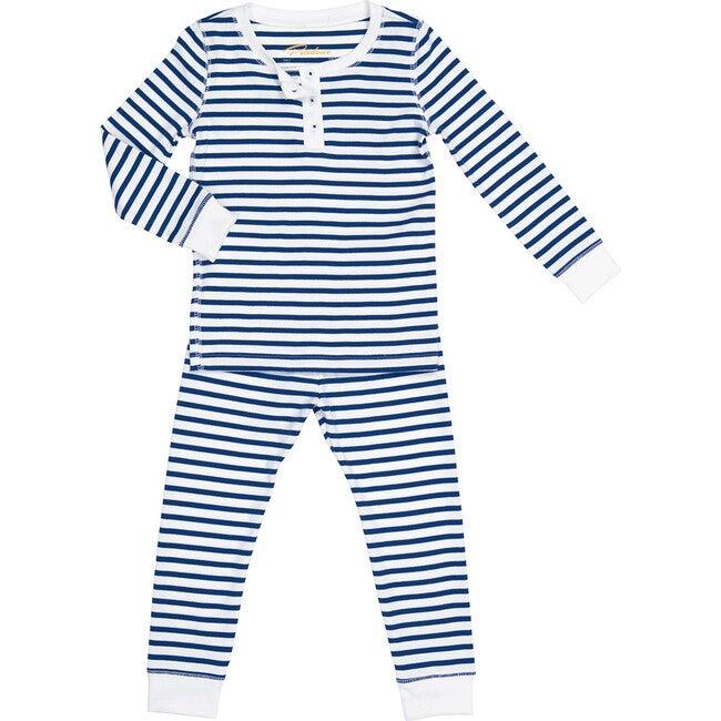 Nautical Stripes Long Pajamas, Navy