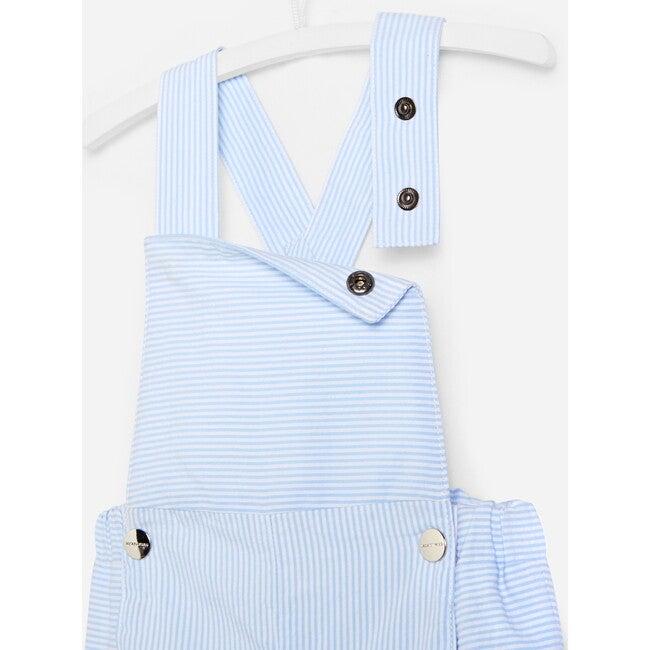 Toddler Short Overalls, White & Sky Blue