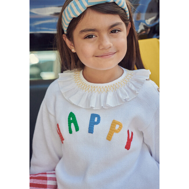 Applique Happy Pullover, White
